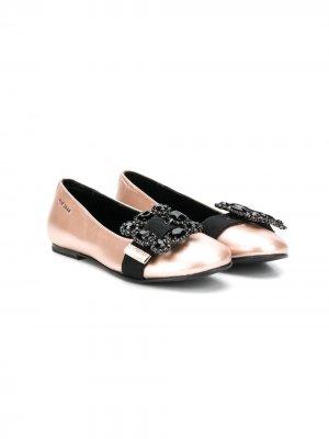 Декорированные балетки ELIE SAAB JUNIOR. Цвет: розовый