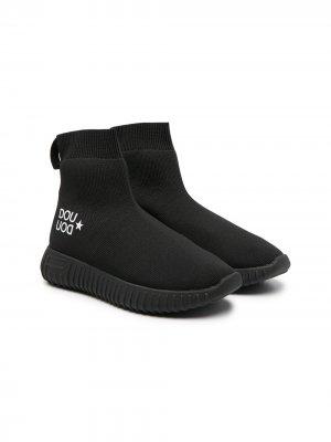 Кроссовки-носки с логотипом Douuod Kids. Цвет: черный