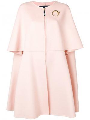Пальто с брошью в виде змеи Cavalli Class. Цвет: розовый