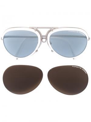 Солнцезащитные очки в круглой оправе Porsche Design. Цвет: белый