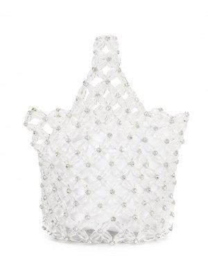 Маленькая сумка-тоут с бусинами Simone Rocha. Цвет: серебристый