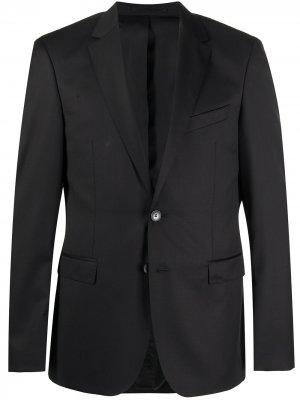 Костюмный пиджак узкого кроя Boss Hugo. Цвет: черный