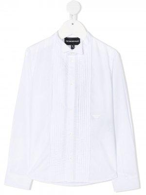 Рубашка с манишкой и длинными рукавами Emporio Armani Kids. Цвет: белый