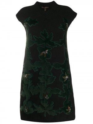 Вязаное платье с фактурными нашивками pre-owned Louis Vuitton. Цвет: черный