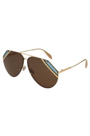 Солнцезащитные очки Alexander McQueen. Цвет: золотой