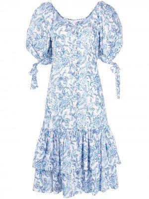 Платье миди Nella с цветочным принтом Caroline Constas. Цвет: синий