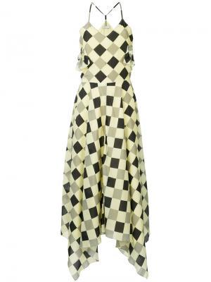 Платье в ромбик Nina Ricci. Цвет: желтый