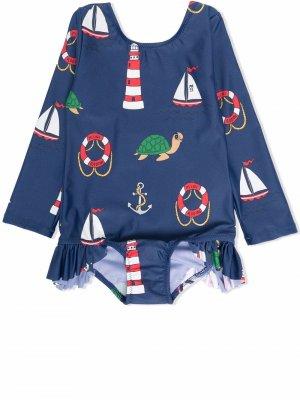 Солнцезащитный костюм для плавания Mini Rodini. Цвет: синий