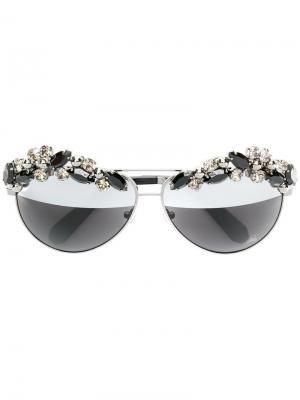 Солнцезащитные очки с отделкой кристаллами Philipp Plein. Цвет: черный