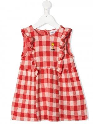 Платье из органического хлопка в клетку виши Bobo Choses. Цвет: красный