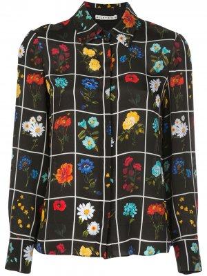 Блузка с цветочным принтом Alice+Olivia. Цвет: черный