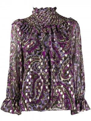 Блузка с присборенным воротником и принтом P.A.R.O.S.H.. Цвет: коричневый