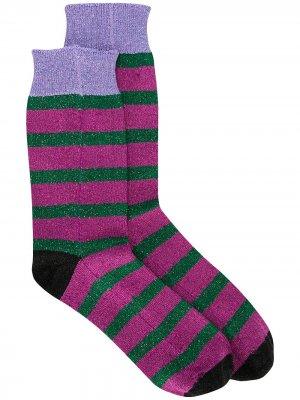 Носки в полоску с блестками La Doublej. Цвет: розовый