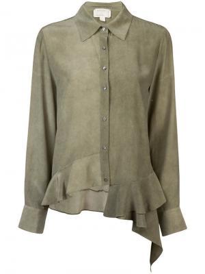 Асимметричная рубашка Nicole Miller. Цвет: зеленый