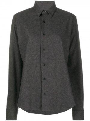 Однобортная рубашка AMI Paris. Цвет: серый