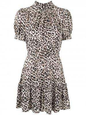 Платье с леопардовым принтом и пышными рукавами Alice+Olivia. Цвет: розовый