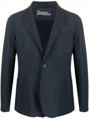Пиджак узкого кроя Herno. Цвет: синий