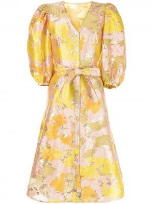 Расклешенное платье с цветочным принтом Stine Goya. Цвет: желтый