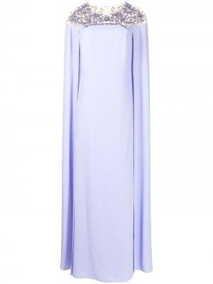 Платье-кейп с вышивкой Marchesa Notte. Цвет: фиолетовый