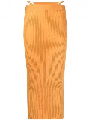 Юбка миди в рубчик Jonathan Simkhai. Цвет: оранжевый