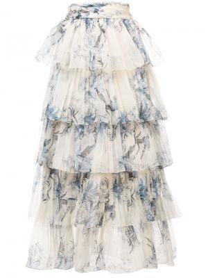 Многоуровневая юбка макси с принтом Johanna Ortiz. Цвет: белый