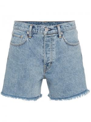 Джинсовые шорты с бахромой Helmut Lang. Цвет: синий