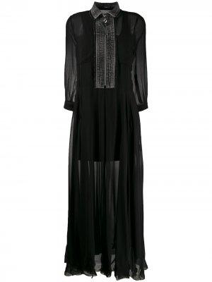 Платье с джинсовой вставкой Diesel. Цвет: черный