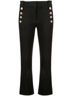 Укороченные брюки клеш с пуговицами в морском стиле Derek Lam 10 Crosby. Цвет: черный