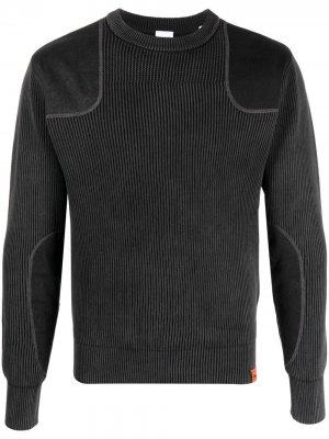 Пуловер в рубчик со вставками Aspesi. Цвет: серый