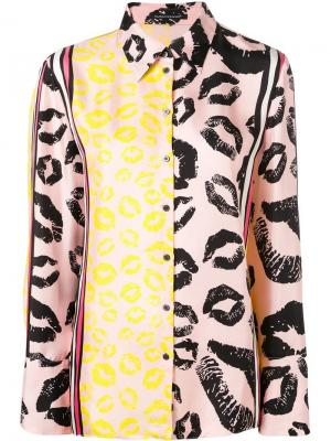 Рубашка с принтом губной помады Luisa Cerano. Цвет: розовый