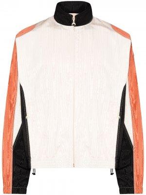 Спортивная куртка из ткани муар Marine Serre. Цвет: белый
