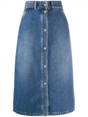 Джинсовая юбка А-силуэта MSGM. Цвет: синий