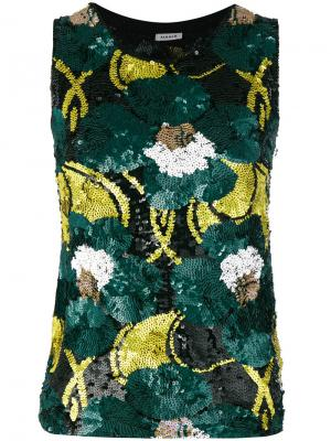 Топ с цветочной отделкой пайетками P.A.R.O.S.H.. Цвет: зеленый