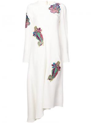 Платье с вышивкой Tibi. Цвет: белый