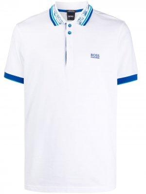 Рубашка поло с контрастным воротником BOSS. Цвет: белый