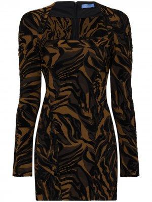 Платье мини с тигровым принтом Mugler. Цвет: черный