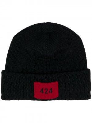Шапка бини с нашивкой-логотипом 424. Цвет: черный