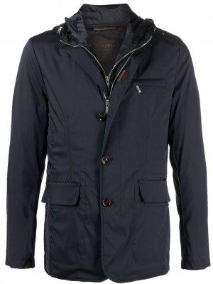 Куртка на молнии с капюшоном Moorer. Цвет: синий