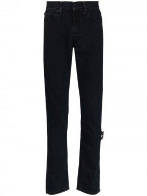 Прямые джинсы с логотипом Off-White. Цвет: черный