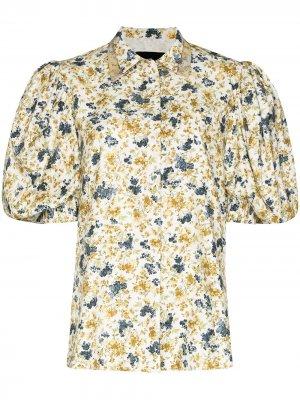 Рубашка с пышными рукавами и цветочным принтом ANOUKI. Цвет: белый