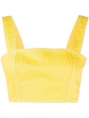 Топ-бралетт с квадратным вырезом Balmain. Цвет: желтый