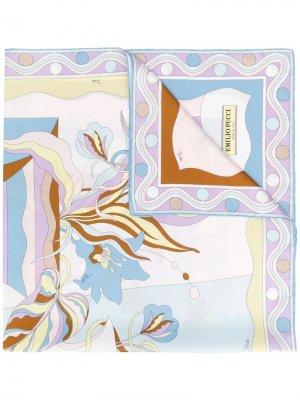 Платок с цветочным принтом Emilio Pucci. Цвет: синий
