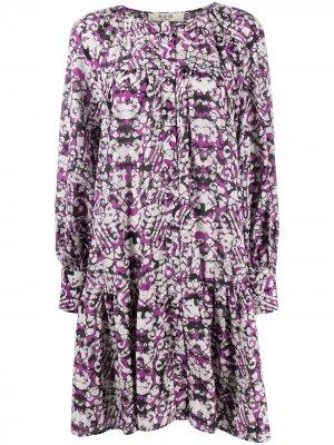 Платье-рубашка с геометричным принтом Sea. Цвет: фиолетовый