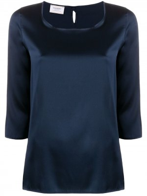 Блузка с круглым вырезом и рукавами три четверти Snobby Sheep. Цвет: синий