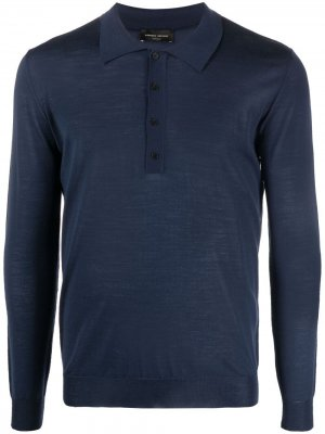 Рубашка поло с длинными рукавами Roberto Collina. Цвет: синий