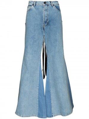 Расклешенные джинсы с бахромой Natasha Zinko. Цвет: синий