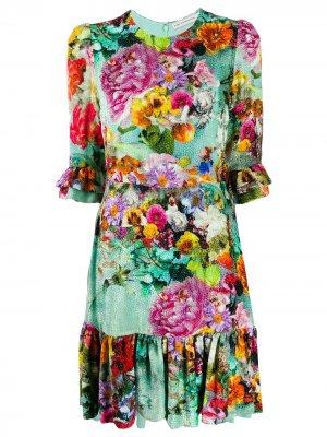Платье Millais с цветочным принтом Mary Katrantzou. Цвет: зеленый