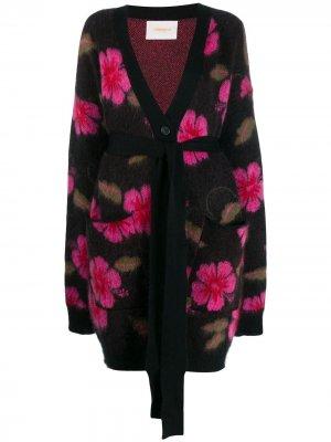 Пальто-кардиган с цветочным узором La Doublej. Цвет: фиолетовый