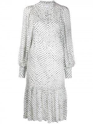Платье с узором и оборками Lala Berlin. Цвет: белый