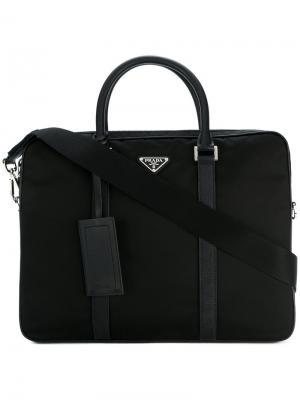 Классическая сумка для ноутбука Prada. Цвет: черный
